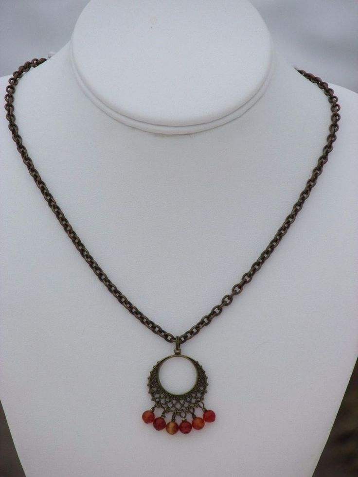 """Antiqued Brass Chain Necklace 18"""" Ornate Charm Red Carnelian Dangles (AM001) #Handmade #Chain"""