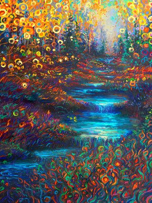 By Iris Scott | Oil on canvas | Finger painting | Originals and prints | www.IrisScottFineArt.com | A small creek with pools of cool, aqua blue water streams through a glen thick with yellowing trees and green and red grass. #fall #forest #grass #nature #texture #painting #oils #fingerpainting #IrisScott