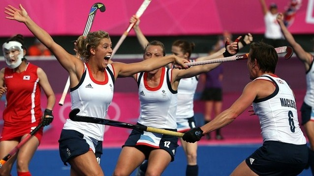 Georgie #Twigg celebrates the fourth Great Britain goal  Georgie Twigg (L) of Great Britain celebrates scoring their fourth goal during the women's Hockey match between Great Britain and Republic of Korea on day 4 of the London 2012 Olympic Games at Riverbank Arena