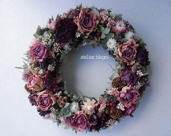 ハンドメイドマーケット+minne(ミンネ)|+atelier+blugra八ヶ岳〜シックな薔薇Wreath02