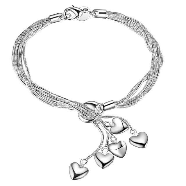 925 Cổ Điển Đẹp Vòng/Heart/Bướm/Bầu Mặt Dây Chuyền Bạc Mạ Multilayer Chain Vòng Đối Với Phụ Nữ Cô Gái