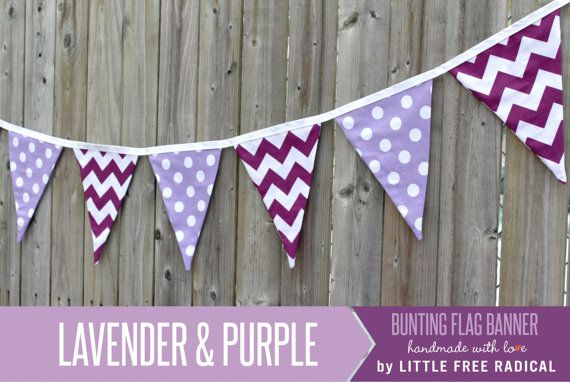 Purple Chevron and Lavender Polkadot Fabric by LittleFreeRadical, $30.00