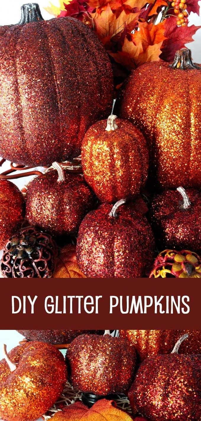 DIY Glitter Pumpkins are so easy to make that there is no need to decorate this fall with plain pumpkins. These Glittery Pumpkins make a fabulous Fall decoration, Thanksgiving Centerpiece or a Halloween decoration.  Grab your glitter and let's get started!