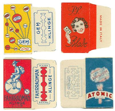 Vintage razor blade packages
