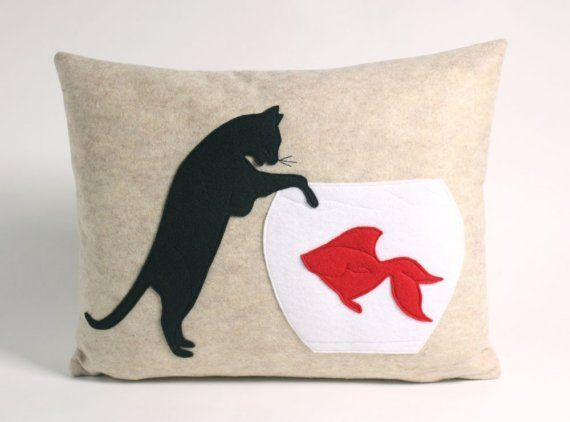 The Naughty Cat Recycled Felt Applique Pillow ($90) is a good ...