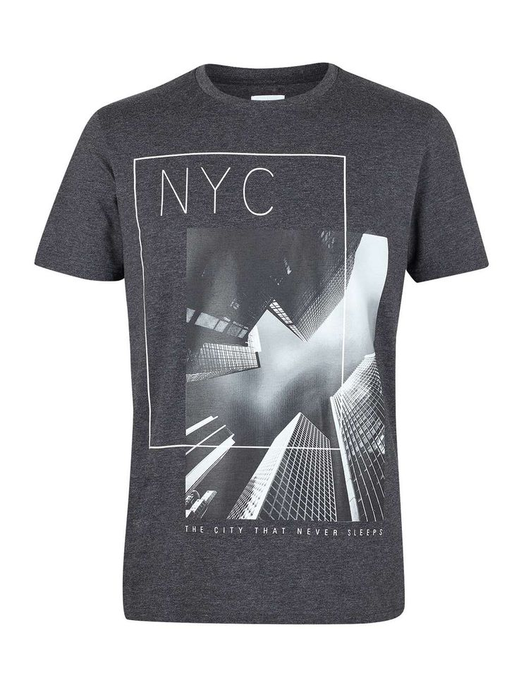 Black NYC Print T-Shirt - Mens T-Shirts & Vests - Clothing - Burton Menswear