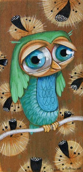 blue & green owl by Miguel Angel Bethencourt