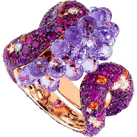 de Grisogono High Jewelry Ring from the Melody of Colours Collection. Pink gold with briolette-cut amethysts,rubies,orange sapphires & white diamonds