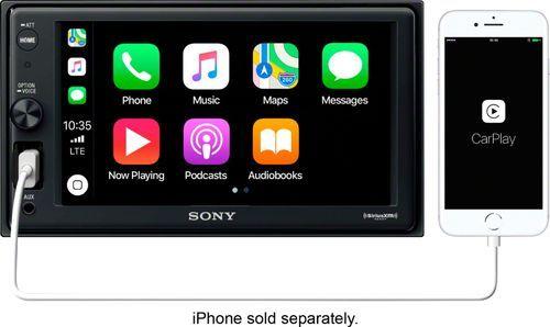 "Sony – 6.2″"" – Apple CarPlay – Built-in Bluetooth – In-Dash Digital Media Receiver – Black"