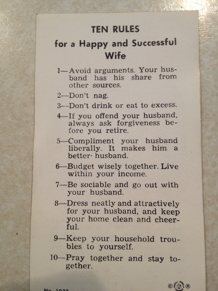 Rules For A Girls Bedroom: 10 Rules For A Happy Wife From St. Paul's