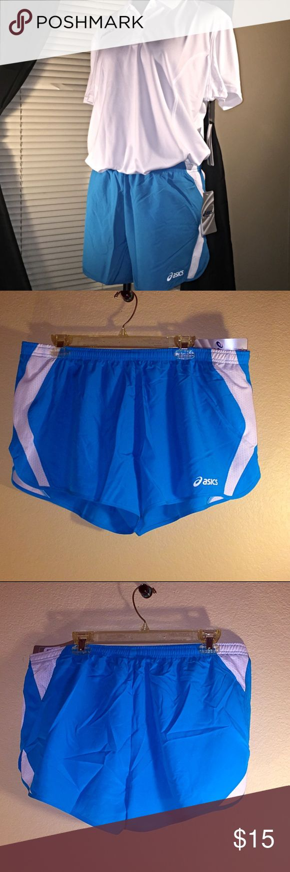 ASICS Blue and White Shorts NWT! Retail $32, 100% Polyester, Squad Split Shorts. asics Shorts