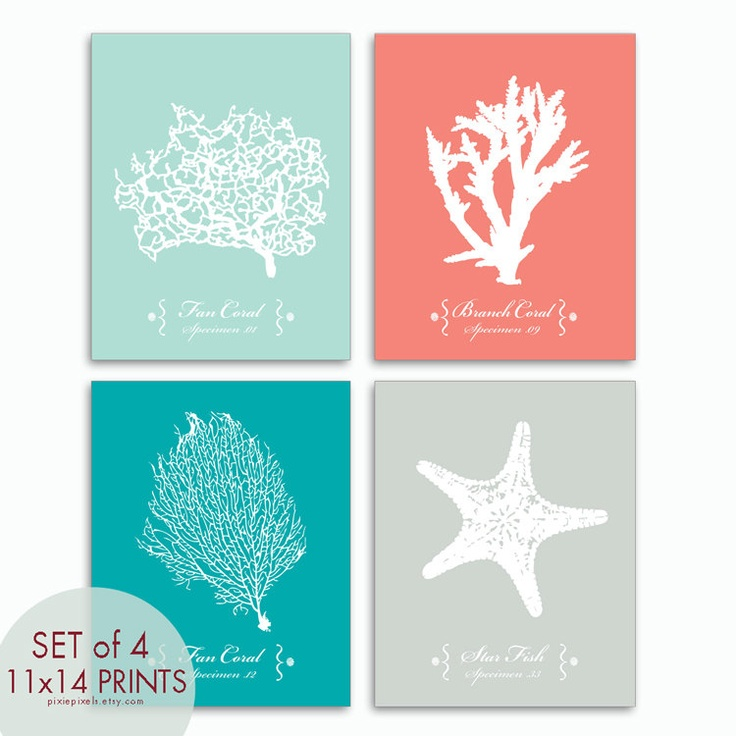 underwater sea coral collection series a set of 4 11x14 art print