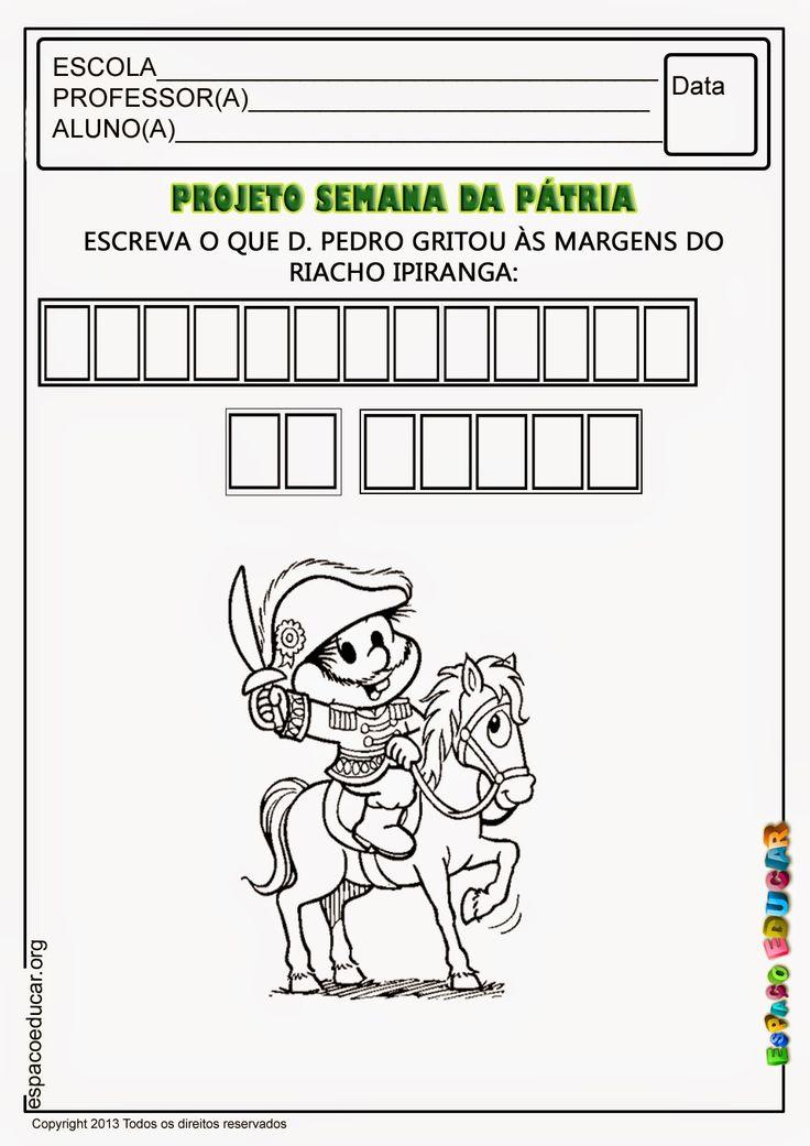 Atividades sobre Independência - 7 de Setembro para imprimir ~ ESPAÇO EDUCAR