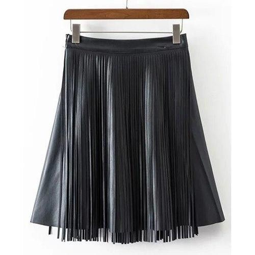 Stylish Fringed PU Leather Black A-Line Skirt For Women