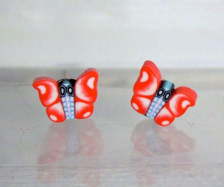 Ohrstecker - Ohrstecker Schmetterling Tier Ohrringe Fimo  - ein Designerstück von ausgefallene-Ohrringe bei DaWanda