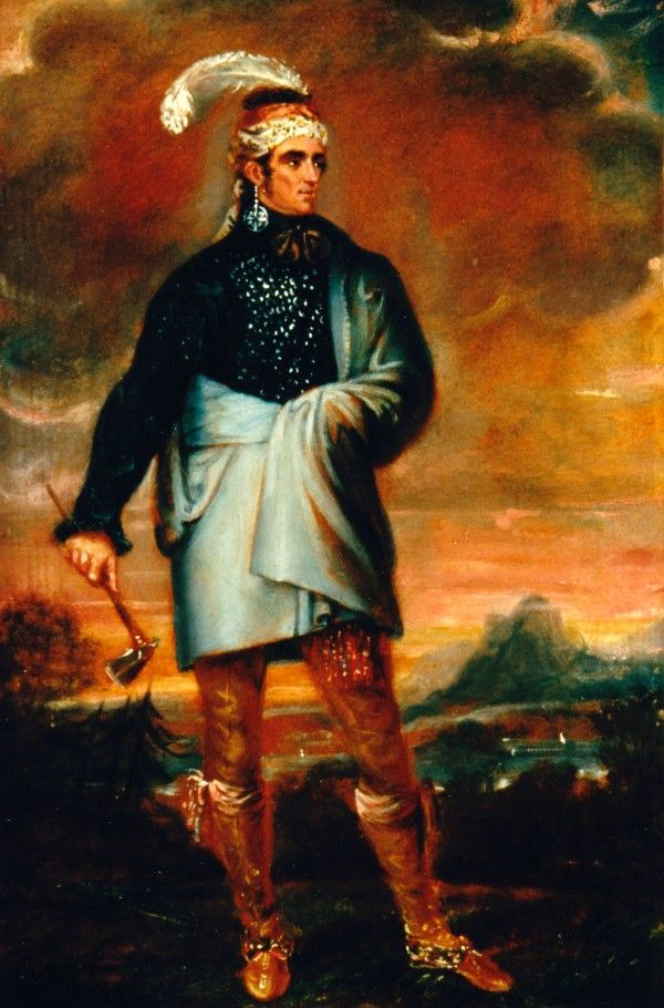 John Norton (Teyoninhokarawen), probably painted by Solomon Williams around 1804 Son of a Cherokee father and Scottish mother, Norton was adopted as a nephew by Joseph Brant (Thayendanega), a leading Mohawk chief. The combination of Iroquois and British clothing worn by Norton in this portrait reflects both his own dual heritage and the ongoing cultural exchange between First Peoples and Europeans.