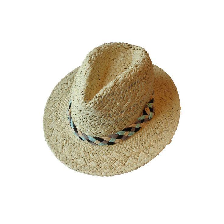 Très belle pièce faite à la main, ce chapeau de paille de couleur beige a été tressé avec soin en dentelle, d'une façon magnifique. Un headband tressé de couleurs bleu cyan, noir, gris anthracite et ivoire a été apposé sur ce dernier. Matériaux: paille, cordons en suédine Couleurs: bleu cyan, noir, gris anthracite, ivoire Dimensions : - Tour de tête : 57 cm (taille unique) - Bords : 6 cm - Dimensions globales : 30 cm de large, 33 cm de long, 12 cm de haut
