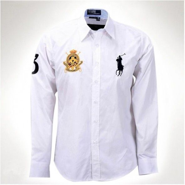 Ralph Lauren Men White Big Pony Long Sleeved Shirts http://www.ralph