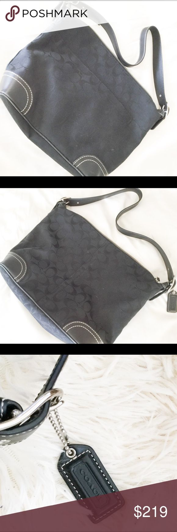 """EUC Coach signature monogram Tote Authentic Black Coach """"C"""" monogram shoulder tote medium to large sized bag. Adjustable shoulder strap, silver hardware, inside zip pocket, two slip pockets. Interior is spotless with coach creed and cereal number. Coach hang tag on outside of bag. Slight skuffs on two of the corners, other than that bag is mint. Approximate Measurements: 13"""" x 10"""" x 4"""" Coach Bags Shoulder Bags"""