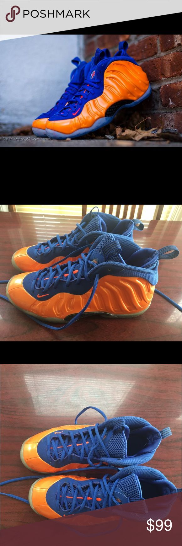 Knicks Foamposites 7Y Good condition overall no rips or stains - please read my No Fake post for more info on the shoes ! Make reasonable offers !  See the picture on the front they have to be cleaned and no major scratches normal wear ! Equivalent to size women's 9 (estimated) Nike Shoes Sneakers