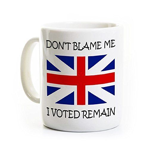 Brexit Coffee Mug - Don't Blame Me I Voted Remain - Great Britain Leaving the EU Humor Gag Joke Gift. All mugs are 11 ounces and have a glossy finish. The text and image on each mug is very sharp - we do not allow poor quality mugs to leave the shop. The mugs are dishwasher and microwave safe because of the dye sublimation process that we use. This process chemically bonds the ink to the mug surface. You can expect your mug to last a very long time with regular use. We can customize…