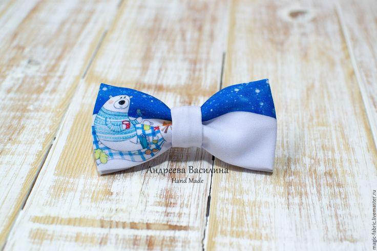 Купить Новогодний галстук-бабочка Белый медведь - мятный, бабочка, бабочка на шею, бабочка-галстук
