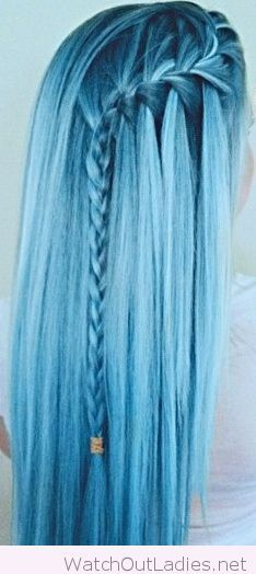 Bright blue hair color