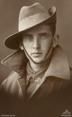 unidentified  Aussie World War One soldier. His eyes are just so intense. I wonder what was he thinking?