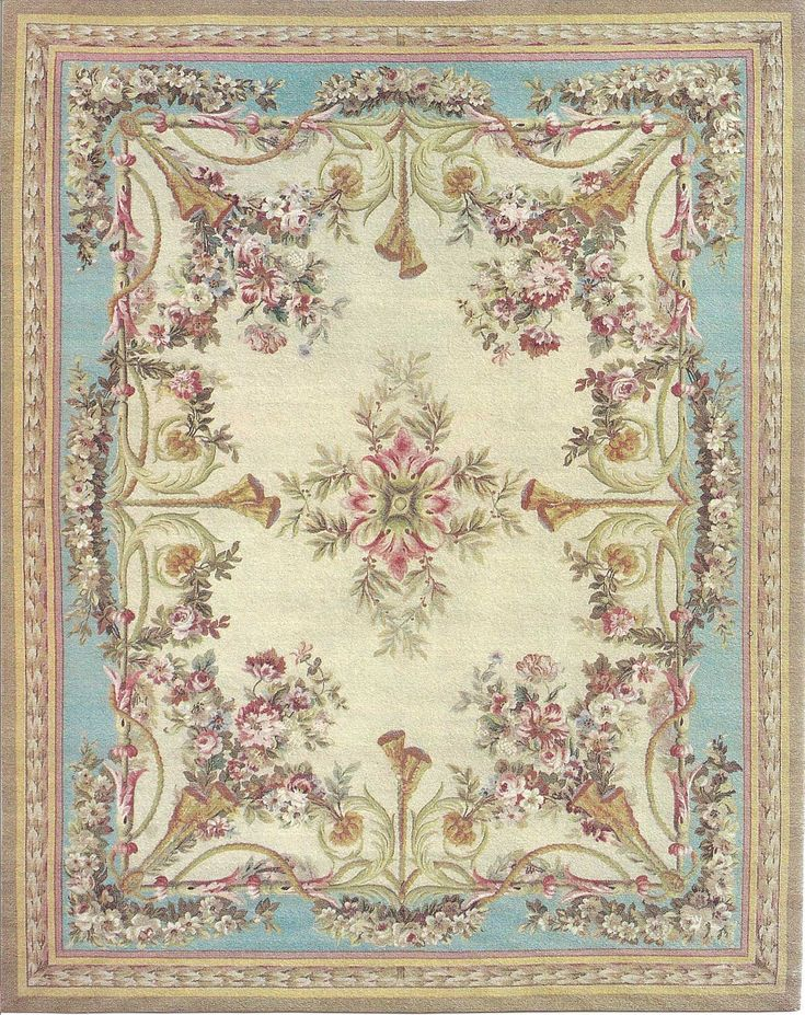 """5""""x6"""" French Victorian Shabby Chic dollhouse miniature area rug"""