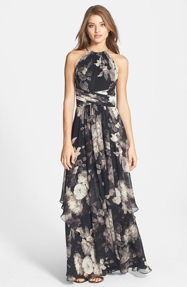 Eliza J Fl Print Halter Neck Chiffon Gown Dress For The Wedding Guest