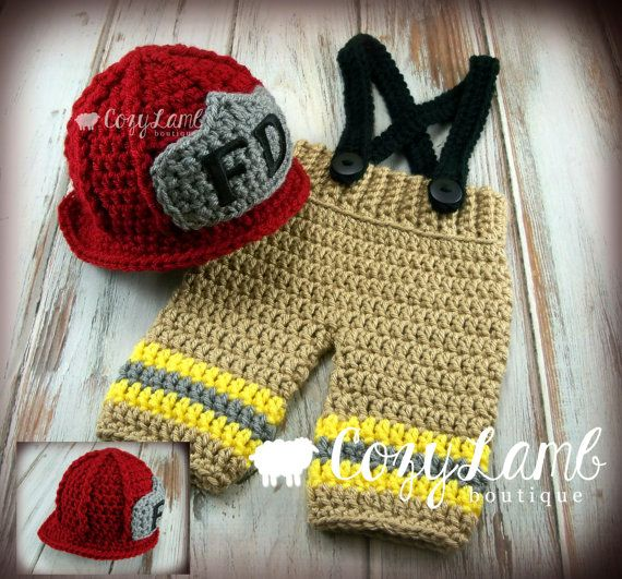 Crochet Patterns For Baby Frocks : Crochet Fireman Set Fireman Outfit by CozyLambBoutique on ...