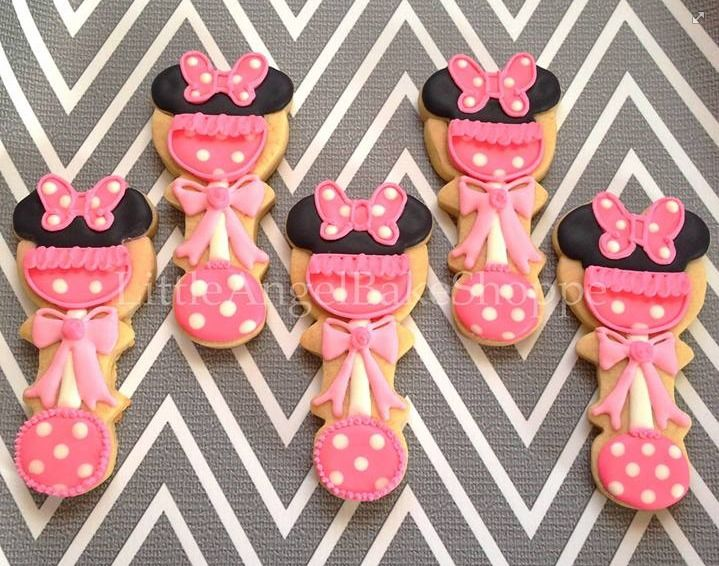 Minnie Mouse rattle baby shower cookies by Little Angel Bake Shoppe