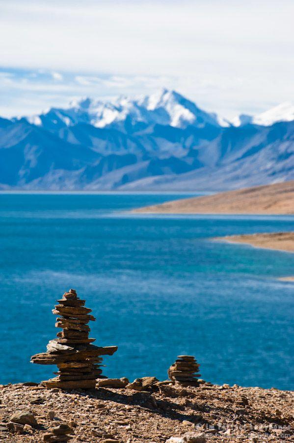 Buddhist stone pyramid, Tso Moriri Lake. Ladakh, India