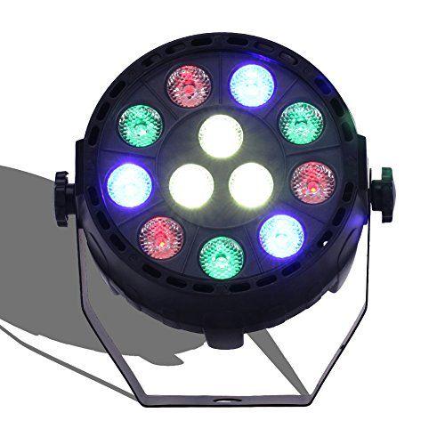KYG DMX512 Mischfarbe 12LEDs RGBW Lichteffekt Disco Beleuchtung 12W Discolicht Effektstrahler B�hnenbeleuchtung Projektor 110-240V Multi-Winkel drehendem Halter f�r Party Bar Hochzeit Aktivieren Licht