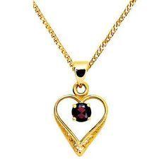 Romantic Garnet Heart Pendant - BEE-61755-GT