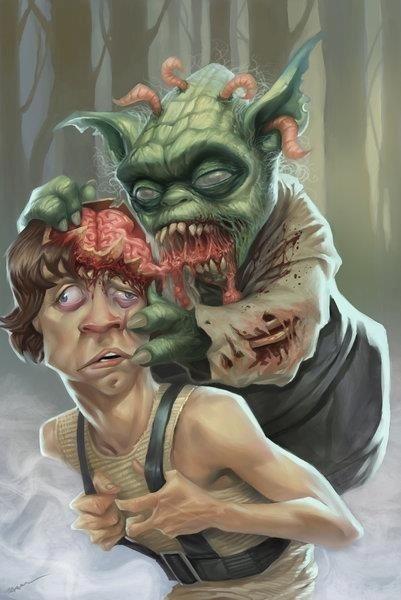 Zombie Yoda - Star Wars: Yoda Zombie, Art, Star Wars, Zombie Apocalypse, Luke Skywalker, Brain, Zombies, Starwars