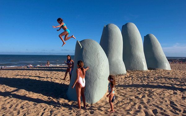 hand sculpture on Playa Brava ... beach in Punta del Este, Uruguay