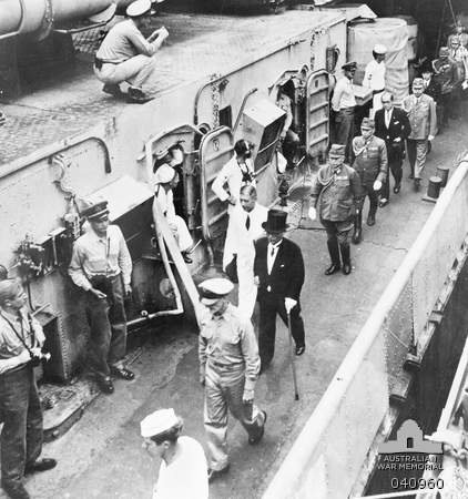 "Surrender of the Japanese aboard USS ""Missouri"". The Japanese representatives come aboard the ""Missouri"". Japan: Tokyo Bay. 2 September 1945."