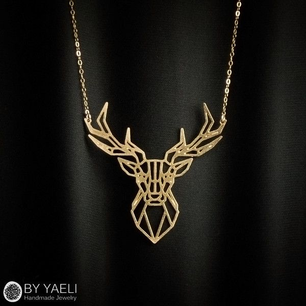 Deer necklace, animal necklace, geometric necklace, deer antler... ($50) ❤ liked on Polyvore featuring jewelry, necklaces, 14 karat gold necklace, 14k necklace, geometric necklace, deer necklace and 14k gold jewelry