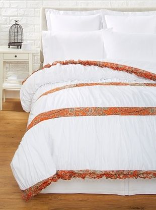 63% OFF India Rose Kathryn Duvet Cover, White/Orange, Queen
