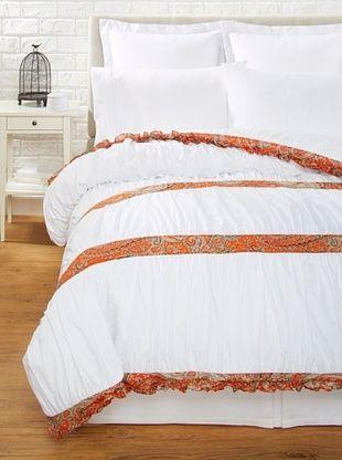 63% OFF India Rose Kathryn Duvet Cover, White/Orange, Queen