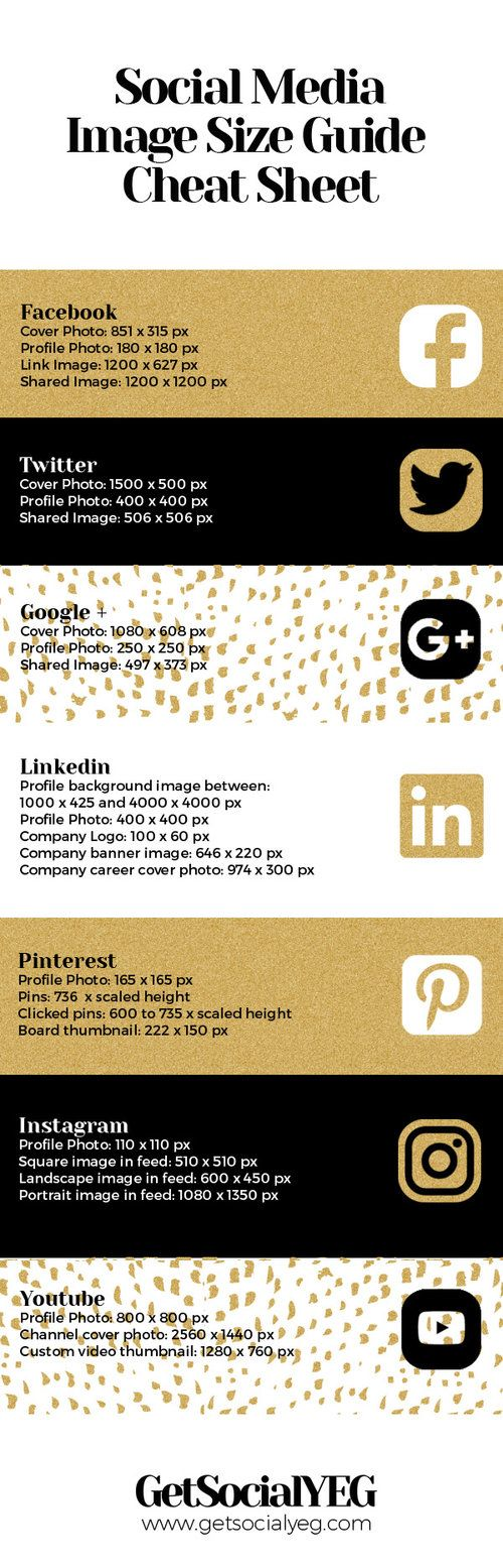 A Great and easy guide for finding the right size for all of your social media images!