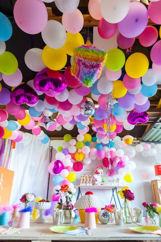 Loving the vibrant colors and decorations at this Trolls Birthday Party!! See more party ideas and share yours at CatchMyParty.com #trolls #decorations