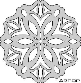 Page full of snowflake patterns. Designed for scroll saw work, but could be used in lots of different crafts.