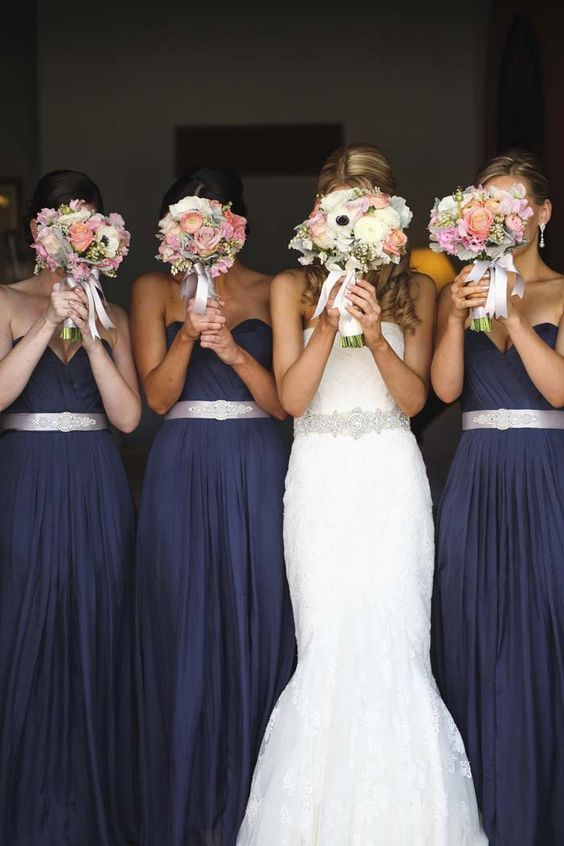Navy bridesmaid Dresses and Blush Bouquets / http://www.deerpearlflowers.com/navy-blue-and-white-wedding-ideas/