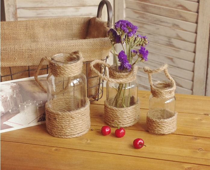 New arrived hotsell glass bottle/table flower pot with rope handle/wedding decoration/holiday decoration, View white glass bottle, QINGCHEN Product Details from Linyi Qingchen Import & Export Trading Co., Ltd. on Alibaba.com