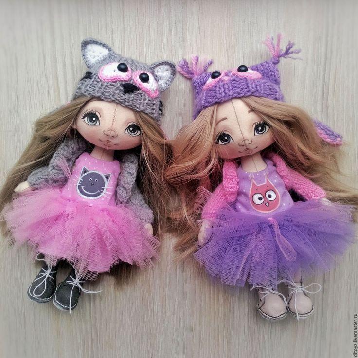 Купить Девочка в шапочке Совенка , текстильная кукла - коллекционная кукла, кукла ручной работы