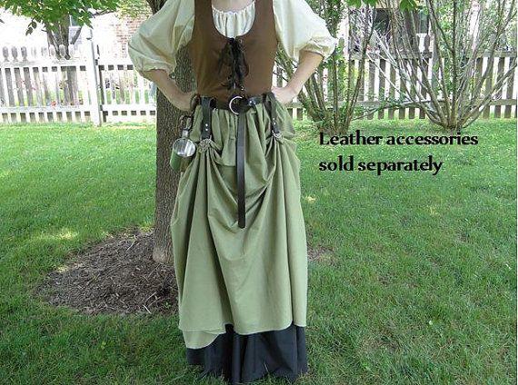 Renaissance Dress SET 3 Piece Costume: Bodice Chemise & Skirt by FolkOfTheWood | Etsy