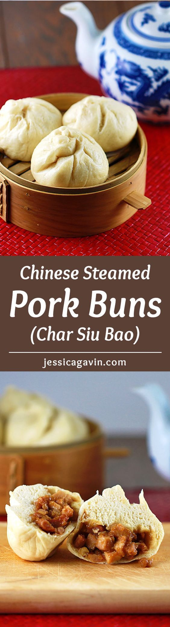 Steamed Pork Bun Recipe - Traditional Chinese char siu bao recipe. Each soft and tender bun is filled with sweet and savory barbecue pork. You don't have to leave home for some dim sum! | jessicagavin.com