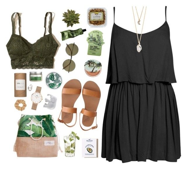 Barcelona by a-ttitude on Polyvore featuring polyvore fashion style Boohoo Hollister Co. Ancient Greek Sandals Daniel Wellington With Love From CA Victoria Beckham Topshop Urban Decay Tony Moly Très Pure Aesop Botanics The Elephant Family Green Banana MANGO clothing